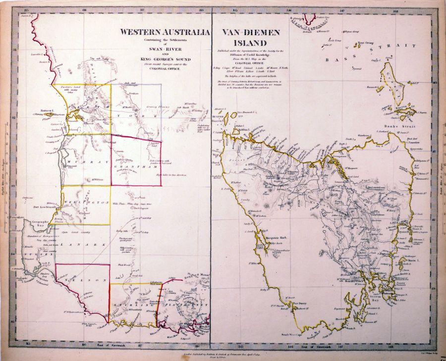 Map Of Australia King Island.Antique Maps Tooley Adams
