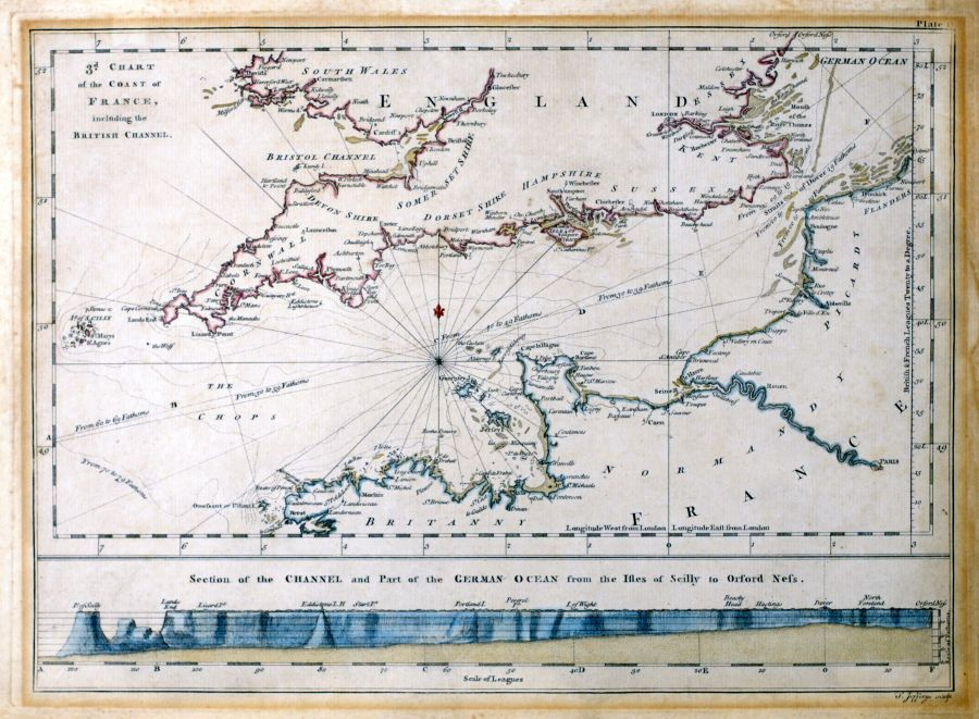 Antique maps tooley adams 3rd chart of the coast of france including the british channel gumiabroncs Image collections
