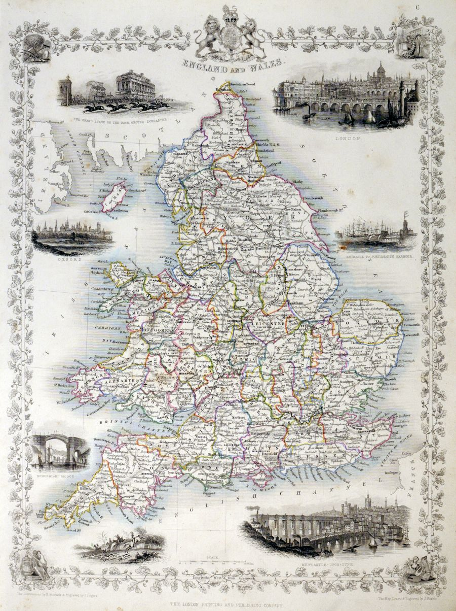 Map Of England 850.Antique Maps Tooley Adams