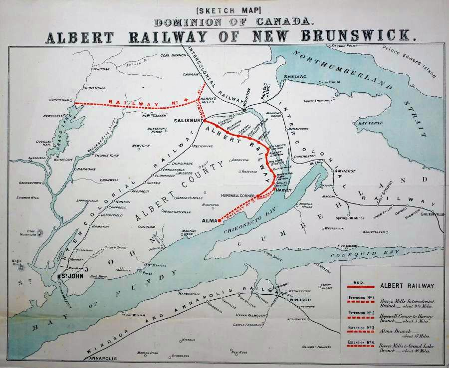 sketch map dominion of canada albert railway of new brunswick
